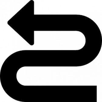 Curve pijlpunt naar links