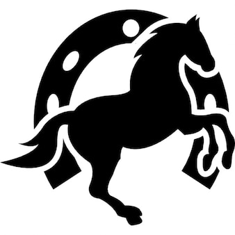 Dansend paard en hoefijzer achtergrond