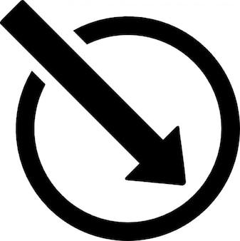 Grote pijl in een cirkel punt naar rechts beneden