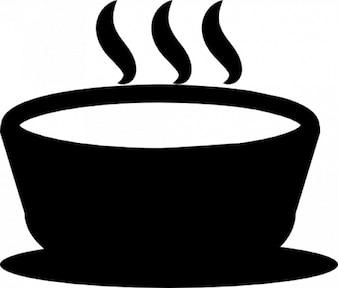 Hete soep in een kom