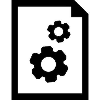 Instellingen van het document-interface symbool van een papieren vel met twee versnellingen