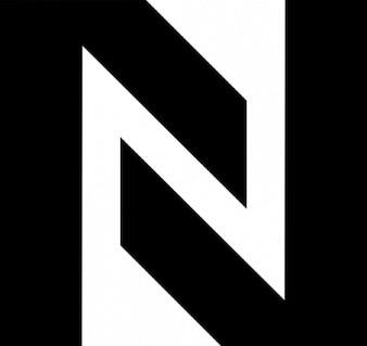 N gevormd door twee hoeken