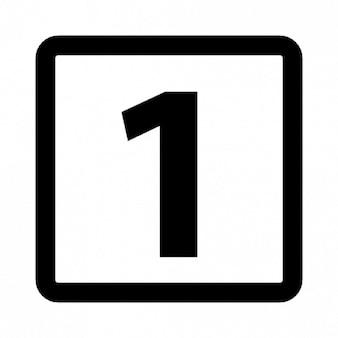 Nummer een in een afgerond vierkant