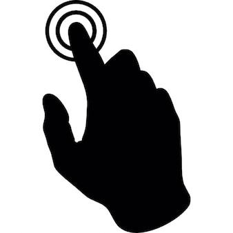 Raken met de druk van een vinger van de hand op een ronde knop