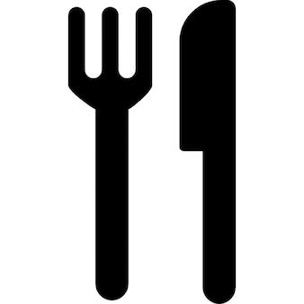Restaurant-interface symbool van vork en mes paar