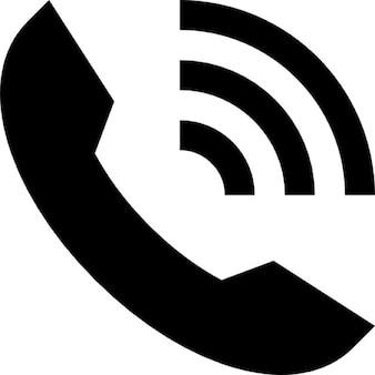 Ring telefoon auricular interface-symbool met lijnen van het geluid