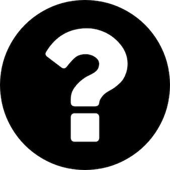 Vraagteken op een ronde zwarte achtergrond
