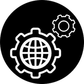 Wereld instellingen cirkelsymbool
