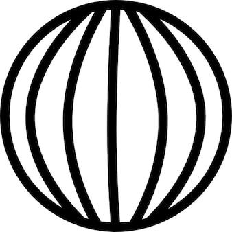 Wereldbol met verticale lijnen raster