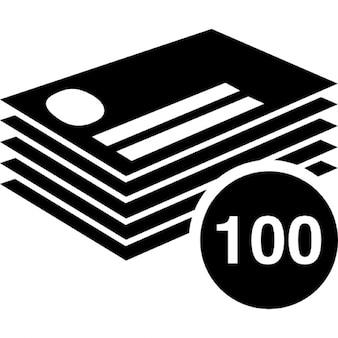 100 cartões de visita empilhar
