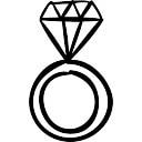 Anel com um diamante grande