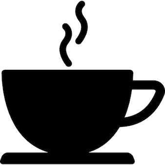 Café copo da bebida quente silhueta negra