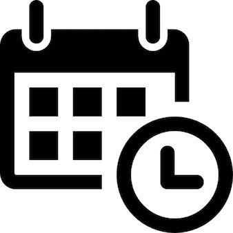 Calendário com as ferramentas de tempo de relógio