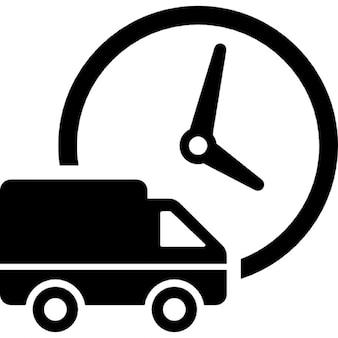 Caminhão de entrega logística e relógio