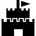 Castelo com uma bandeira no topo