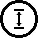 Duplo seta vertical no botão circular