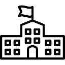 Escola com uma bandeira