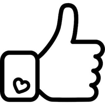 Facebook como a mão símbolo de destaque