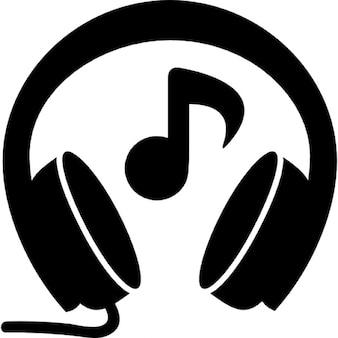 Fones de ouvido com música nota