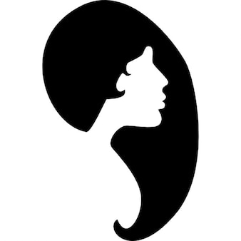 Forma de cabelo feminino e silhueta da face