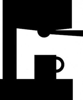 Máquina de café preto vetor