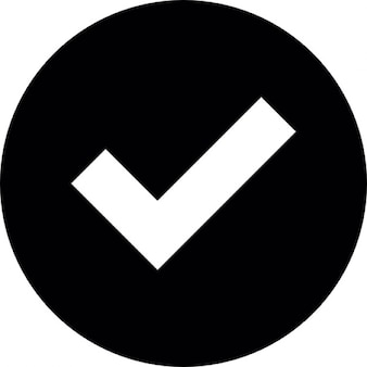Marca de verificação branco sobre fundo circular negro