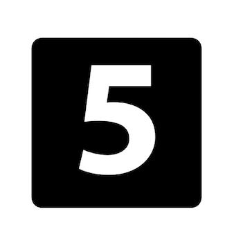 Número 5 quadrado preto