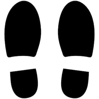 Pegadas de sapato esquerdo e direito