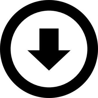 Ponto de seta para baixo em um círculo