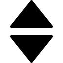 Setas para cima e para baixo cheio triângulos