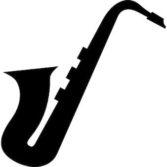 Vista silhueta lado saxofone