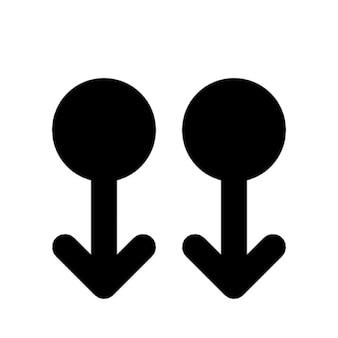 2 flèches poining bas