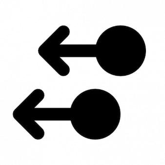 Deux flèches pointant vers la gauche