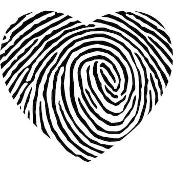 En forme de coeur d'empreintes digitales