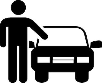 Homme avec la voiture