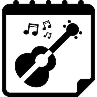 Jour de spectacle de la guitare sur la page quotidienne de rappel de calendrier