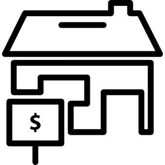 Maison avec un signal avec le symbole du dollar