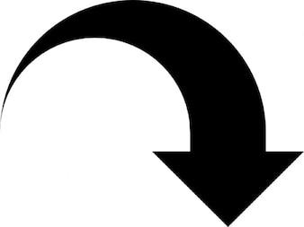 Pointe de la flèche courbée vers le bas