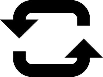Dos flechas con un círculo