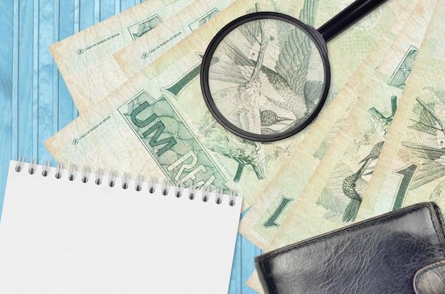 1 billets en real brésilien et loupe avec portefeuille noir et bloc-notes