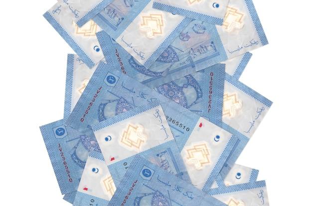 1 billets de ringgit malais volant vers le bas isolé sur blanc