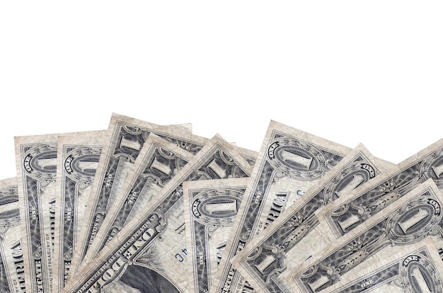 1 dollars américains se trouve sur le côté inférieur de l'écran isolé sur fond blanc avec copie espace