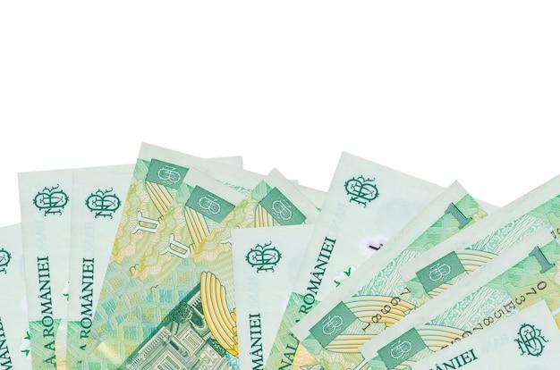 1 factures leu roumain se trouve sur la face inférieure de l'écran isolé sur un mur blanc avec copie espace.
