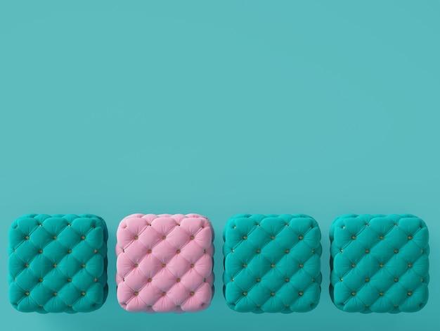 1 pouf rose parmi les bleus avec espace copie. rendu 3d