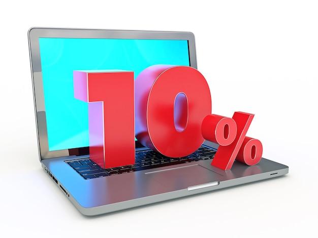 10 pour cent de réduction sur un ordinateur portable et des réductions sur internet