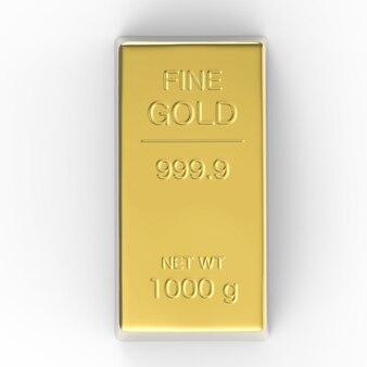 1000 g de lingot d'or ou de lingots sur fond blanc