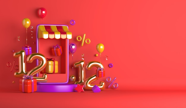 1212 fond de vente de jour de magasinage avec kiosque de smartphone de boîte-cadeau de ballon