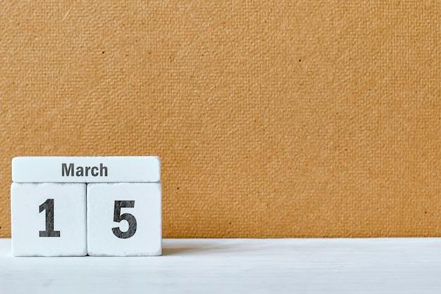 15 quinzième jour de mars sur le calendrier avec copie espace.