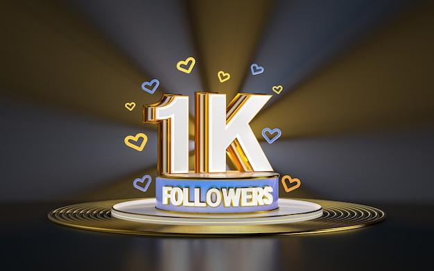 1k célébration d'abonnés merci bannière de médias sociaux avec rendu 3d de fond d'or de projecteur
