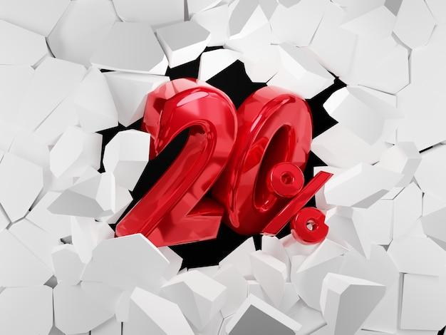 20 pour cent de vente idée de vendredi noir dans le rendu 3d
